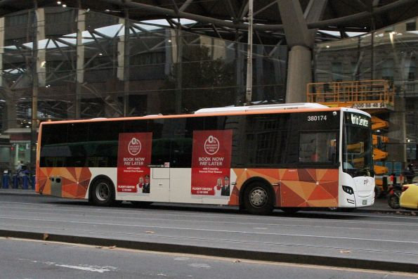 Transdev bus #174 heads north out of service at Spencer and Bourke Street