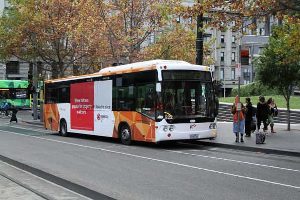 Transdev bus #522 heads west on route 237 at Collins and Spencer Street