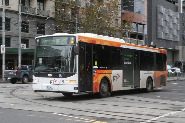 Transdev bus #412 5912AO heads north on route 219 at Spencer and La Trobe Street