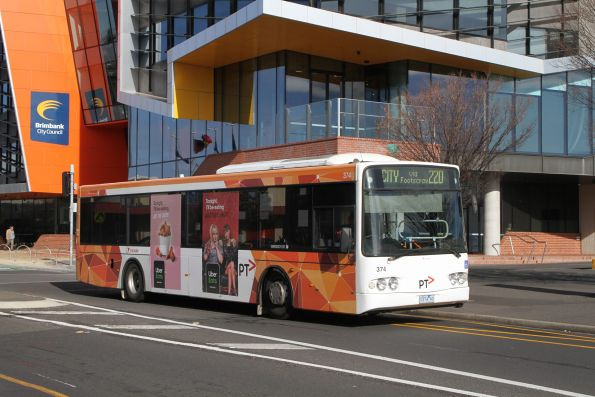 Wednesday, 10 July - Transdev bus #374 0374AO on route 220 at Sunshine Marketplace
