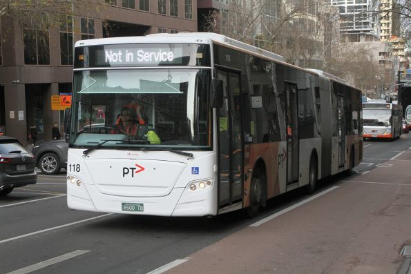 Transdev articulated bus #118 BS00TB not in service at Lonsdale and William Street