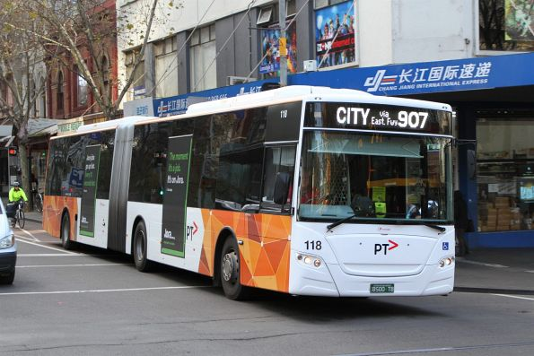 Transdev articulated bus #118 BS00TB on route 907 at Lonsdale and Swanston Street