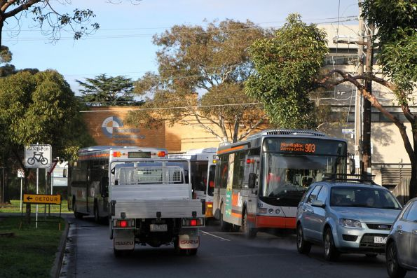 Route 903 buses in the back streets of Sunshine due to roadwork on Hampshire Road south of the railway station