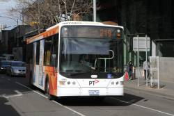 Transdev bus #996 9102AO heads north on route 219 at Spencer and La Trobe Street