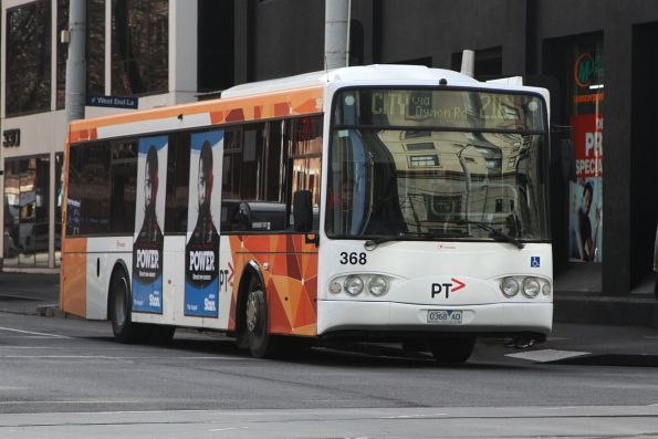 Transdev bus #368 0368AO heads south on route 216 at Spencer and La Trobe Street