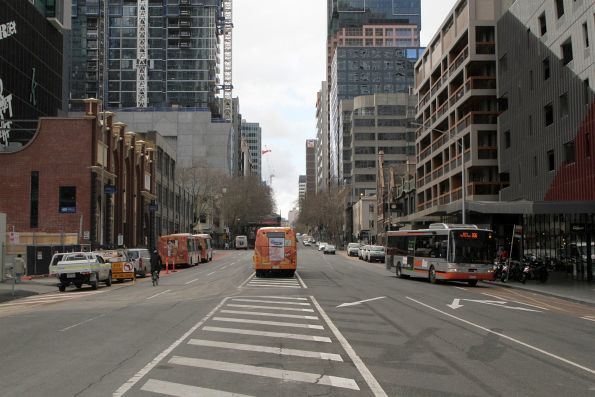 Transdev buses lay over at the Spencer Street end of Lonsdale Street