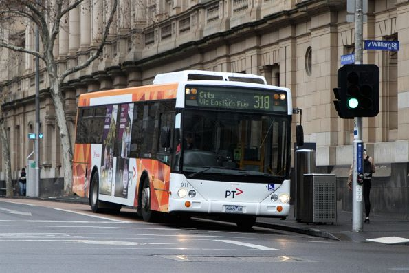 Transdev bus #911 6465AO heads west on route 318 at Lonsdale and William Street
