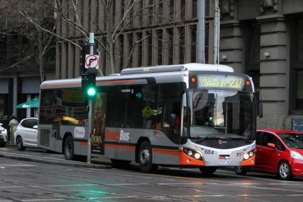 Transdev bus #682 7914AO heads west on route 237 at Collins and Spencer Street