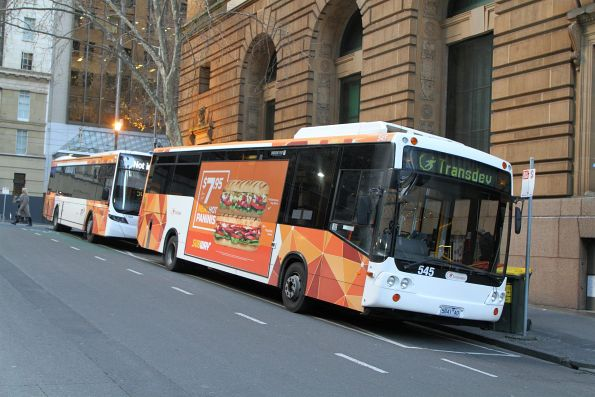 Transdev bus #545 5841AO between runs at Market and Collins Street