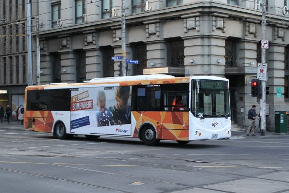 Transdev bus #586 6850AO heads west on route 237 at Southern Cross Station