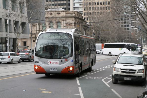 Transdev bus #646 7269AO out of service at William and Lonsdale Street
