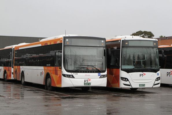 Transdev buses #1120 BS05AC with Volgren body and #1102 BS05CE with Gemilang body at North Fitzroy depot
