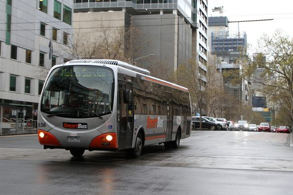 Transdev bus #638 7261AO heads west out of service at Lonsdale and William Street