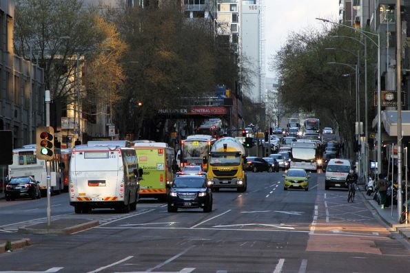 Transdev buses parked between runs in the middle of Lonsdale Street