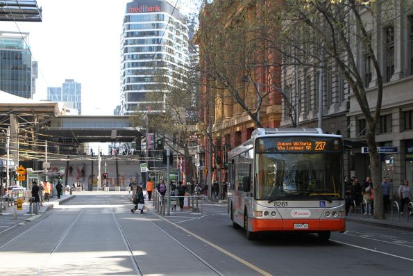 Transdev bus #8261 6547AO on route 237 at Bourke and Spencer Street
