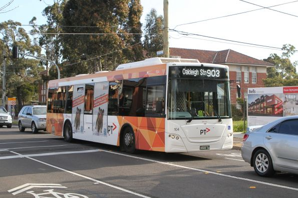 Transdev bus #104 BS00SA on a route 903 service along Hampshire Road, Sunshine