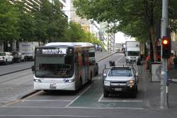 Transdev bus #1161 BS05AK heads east on route 232 at Collins and Spencer Street