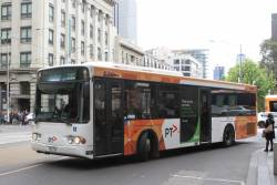 Transdev bus #377 4081AO on route 232 turns from Collins into Spencer Street