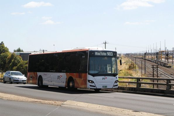 Transdev bus #1117 BS05CO on route 903 along McIntyre Road, Sunshine North