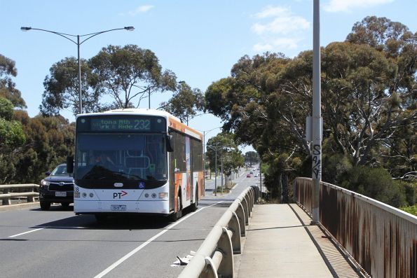 Transdev bus #428 7828AO on route 232 along Millers Road, Altona North