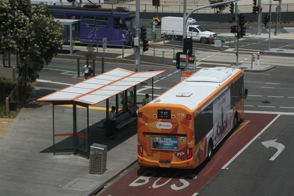 Transdev bus #1178 BS05BB heads south on route 246 at Richmond station