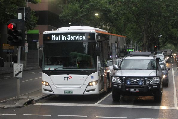 Transdev bus #1125 BS05CT out of service at King and Collins Street