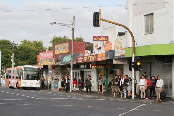 Plenty of passengers change from route 2016 bus to train at Footscray station