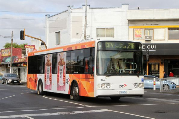 Transdev bus #374 0374AO on route 216 at Footscray station