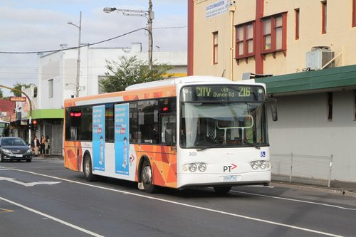 Transdev bus #369 0369AO on route 216 at Footscray station
