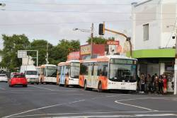 Transdev bus #421 7521AO on route 220 at Footscray station