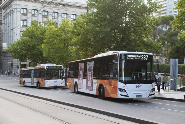 Transdev buses #1157 BS05DP and #705 1762AO on route 237 at Southern Cross Station