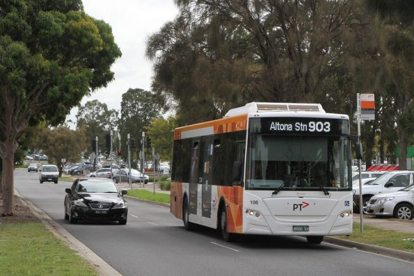 Transdev bus #106 BS00SX on route 903 along Harvester Road, Sunshine