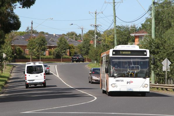 Tuesday, 31 March - Transdev bus #735 1735AO on a driver training run along Anderson Road, Sunshine