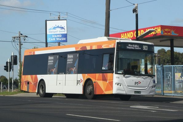 Transdev bus #115 BS01GT on route 903 at Wright Street and Market Road, Sunshine