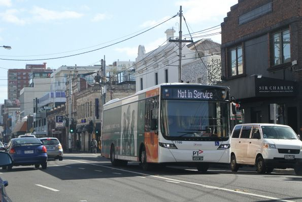 Transdev bus #1166 BS05AP out of service on Johnston Street, Fitzroy