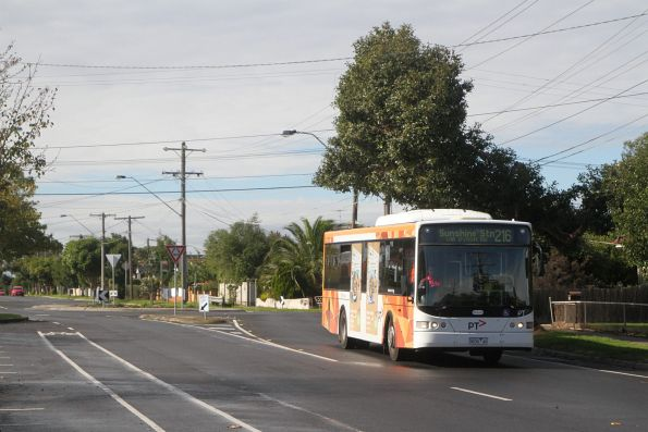 Transdev bus 9036AO on route 216 westbound along Monash Street, Sunshine