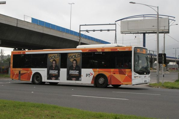 Transdev bus #997 9103AO on route 220 along Footscray Road at Moonee Ponds Creek