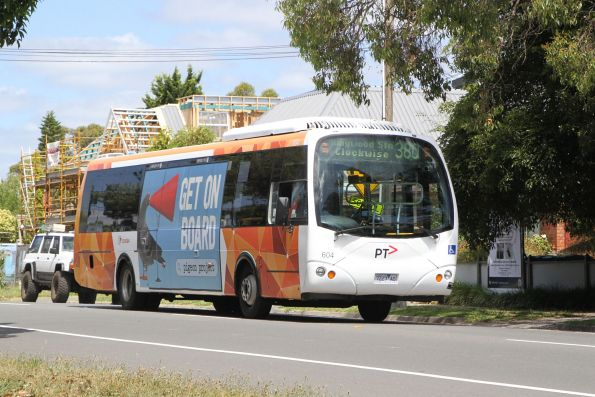 Transdev bus #604 7227AO on a clockwise route 380 service along Bedford Road, Ringwood