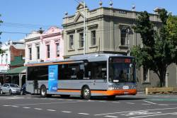 Transdev bus #8298 7637AO on route 250 along Rathdowne Street, Carlton North