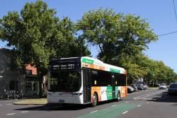 Transdev electric bus #3000 BS05MR on route 251 along Rathdowne Street, Carlton North