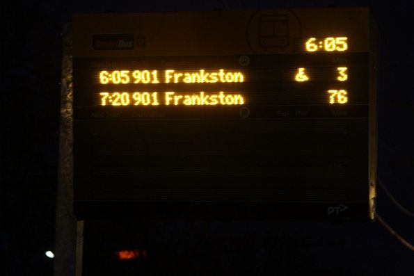 3 and 76 (!) minute waits for route 901 buses at Blackburn station