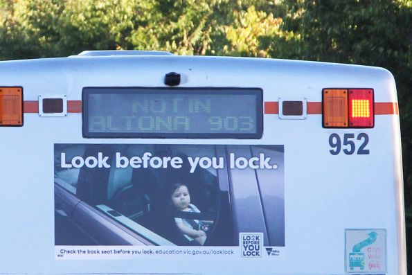 'Not in Altona 903' displayed on the rear of Transdev bus #952
