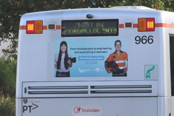 'Not in Mordialloc 903' displayed on the rear of Transdev bus #966