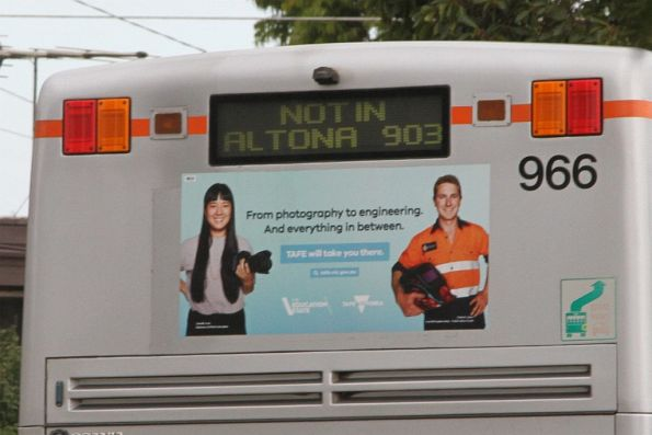 'Not in Altona 903' displayed on the rear of Transdev bus #966