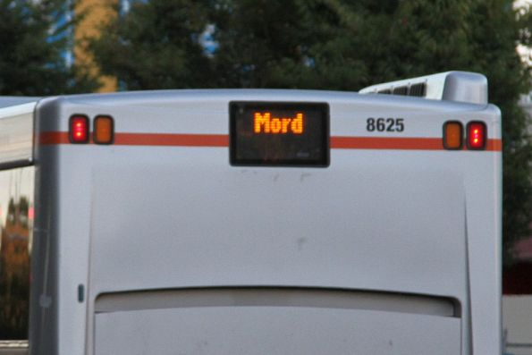 'Mord' displayed on the on the rear of Transdev bus #8625