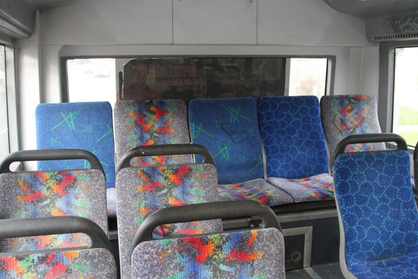 Three different styles of seat fabric onboard a Transdev bus
