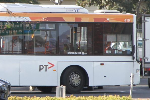 Missing PTV stickers on the front of Transdev bus #419