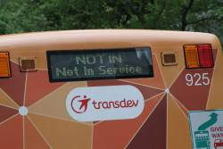 Transdev bus showing 'NOT IN Not In Service' on the rear destination board