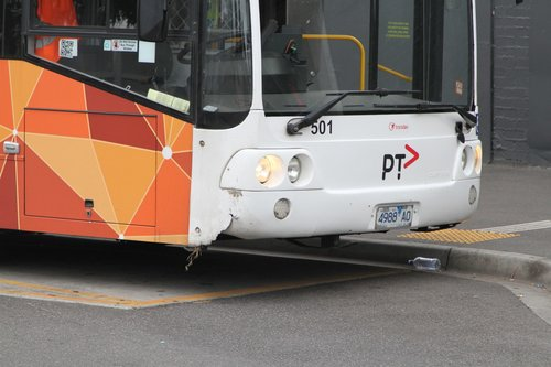 Damaged front bumper on Transdev bus #501 4988AO