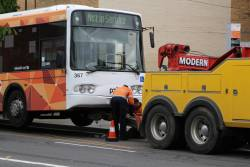 Broken down Transdev bus #367 0367AO being prepared for towing